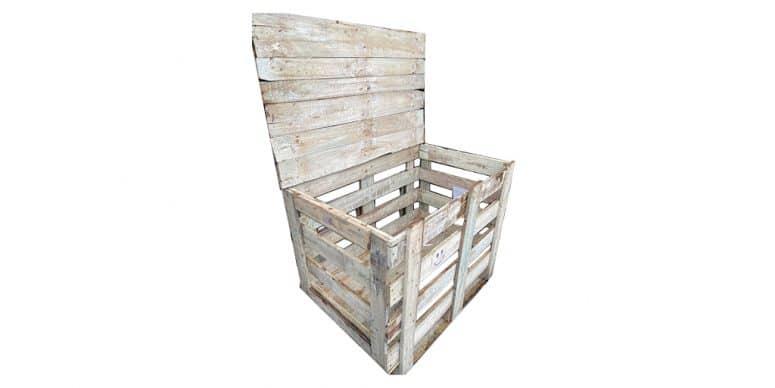 Houten kist met deksel 119x76x93cm, gebruikt