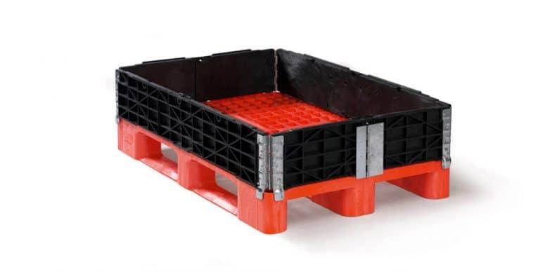 Kunststof palletrand 6 scharnieren 80x120x20cm, nieuw