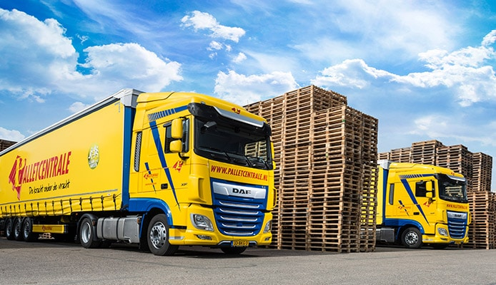 pallets ophalen vrachtwagen